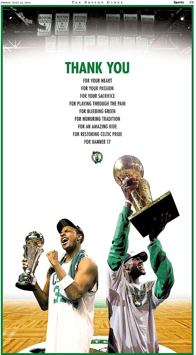 Celtics thank Paul Pierce, Kevin Garnett in full-page Boston Gl…