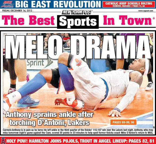 Carmelo Anthony 'day-to-day' after scary left ankle sprain in K…