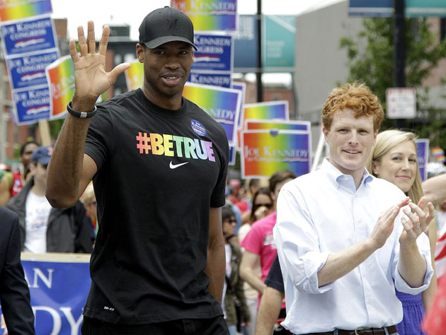 Jason Collins marched in Saturday's Boston Pride Parade