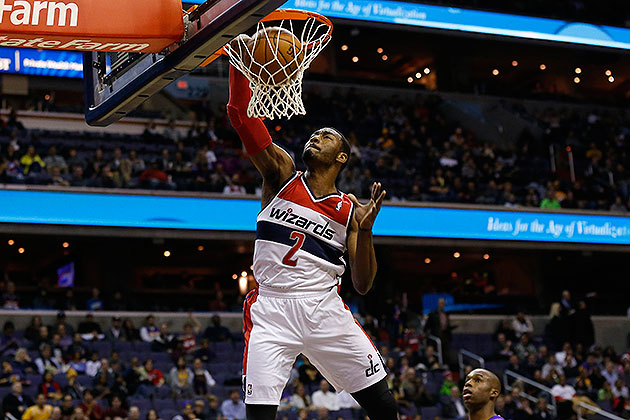 Wizards' John Wall throws down 360-degree fast-break dunk after…