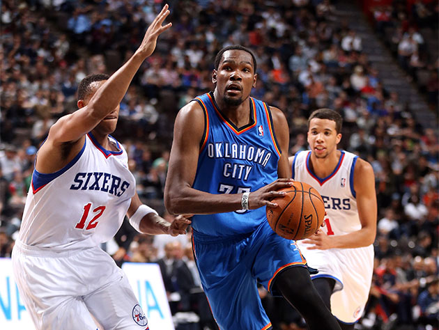 Kevin Durant leads Oklahoma City to an exhibition win over Phil…