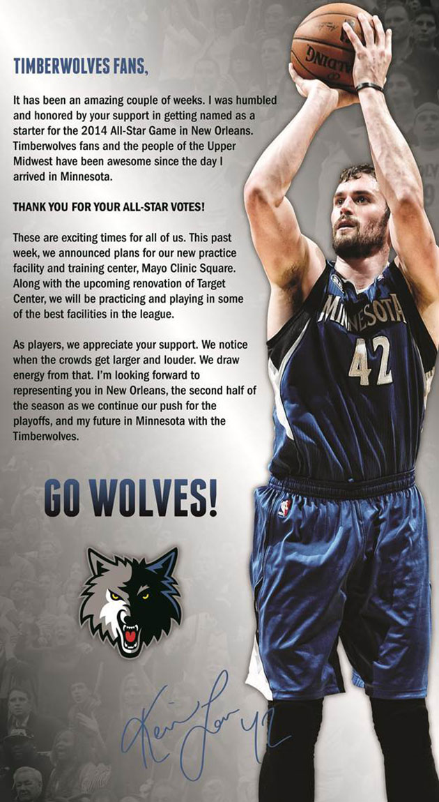 Kevin Love takes out full-page newspaper ad to thank Wolves fan…
