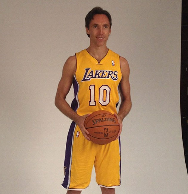 Steve Nash is introduced by the Los Angeles Lakers, dons Laker …