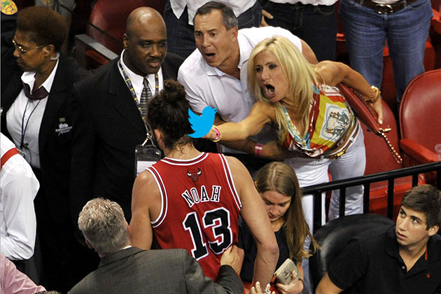 Angry Heat fan flips off Joakim Noah after ejection during Bull…