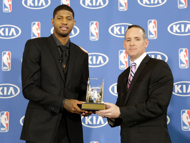 Paul George wins the 2012-13 Most Improved Player Award