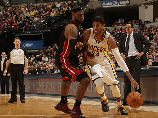 Paul George outduels LeBron James as Pacers beat Heat, serve no…