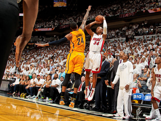 Ray Allen's shooting struggles against the Indiana Pacers conti…