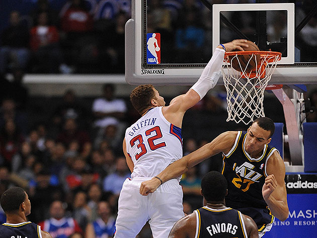 Rudy Gobert thinks about blocking Blake Griffin's dunk, thinks …