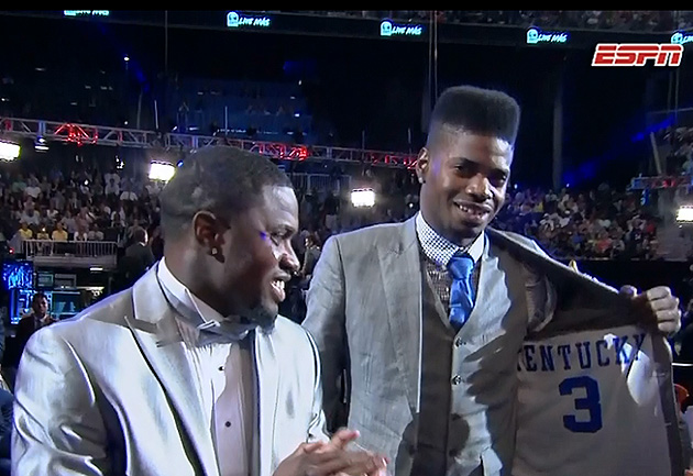 Nerlens Noel had his Kentucky jersey inside lining of suit jack…