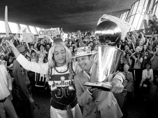 The Washington Bullets' 1978 NBA championship trophy sat in an …