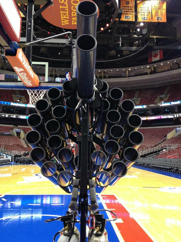 The Philadelphia 76ers unveil the world's largest T-shirt canno…