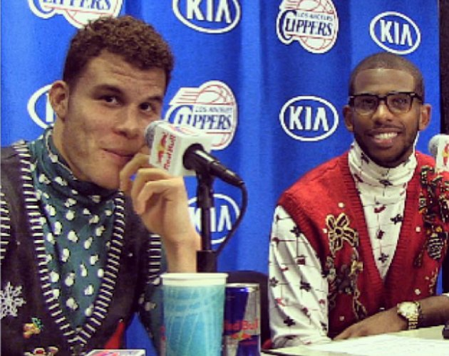 The Los Angeles Clippers celebrated with really ugly sweaters (…
