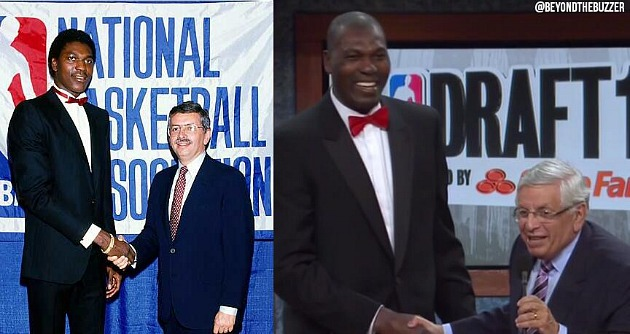 Hakeem Olajuwon arrives in his 1984 tuxedo for David Stern's fi…