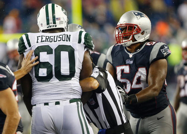 Nick Mangold, D'Brickashaw Ferguson and Willie Colon lose their…