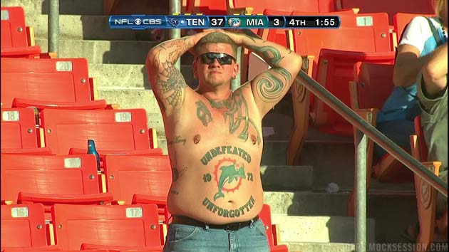 Dolphins fan has devotion to 1972 team tattooed to his belly