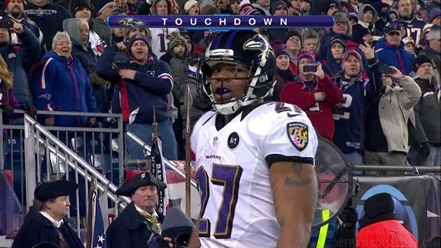 Baltimore's Ray Rice scores a touchdown, celebrates, and is amu…
