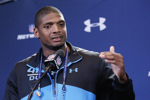 Missouri's Michael Sam stands tall in meeting NFL media at scou…