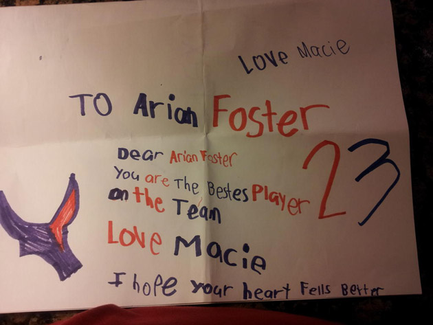 Arian Foster's young fan is worried about his heart, he uses Tw…