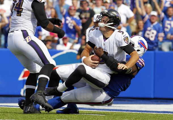 Ravens quarterback Joe Flacco throws five interceptions during …