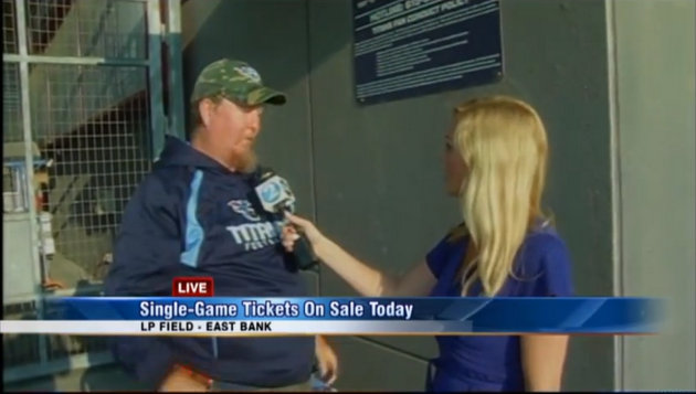 Only one Tennessee Titans fan camps out to buy ticket, TV repor…