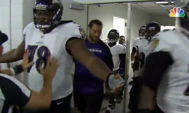 NBC camera catches officials patting down Baltimore Ravens play…