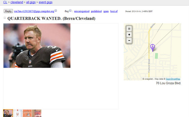 Browns fan posts a funny 'Quarterback wanted' ad on Craigslist