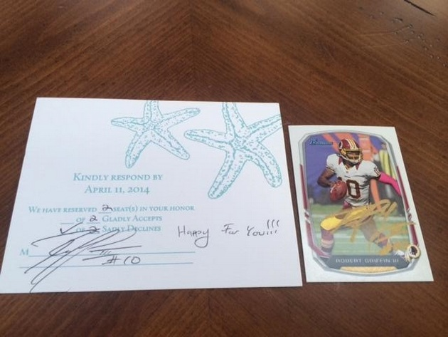Robert Griffin III invited to fan's wedding, responds with auto…