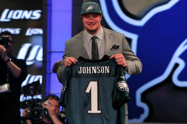 Philadelphia Eagles first-round pick Lane Johnson says he wrest…