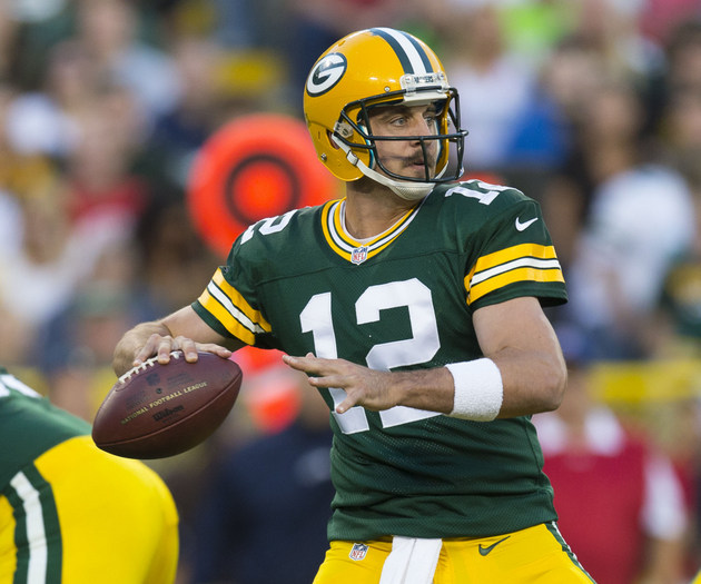 Packers quarterback Aaron Rodgers appears in one series and the…