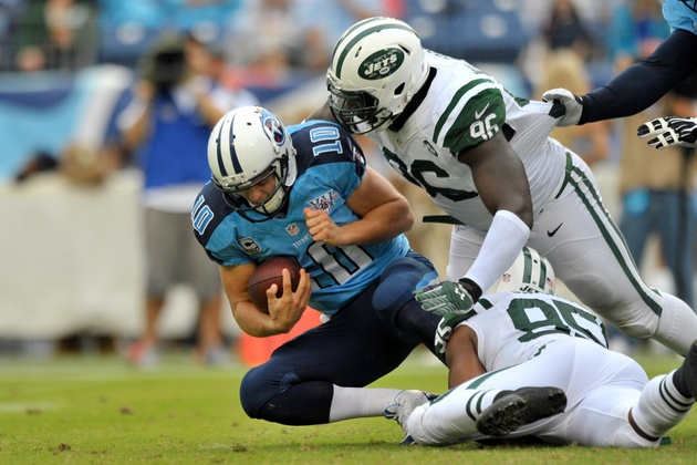 Titans quarterback Jake Locker gets carted off with bad looking…