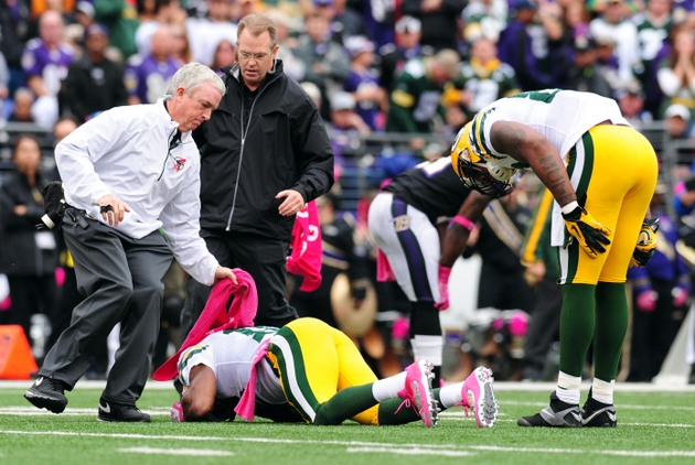 John Harbaugh defends Matt Elam on hit to Randall Cobb's knee