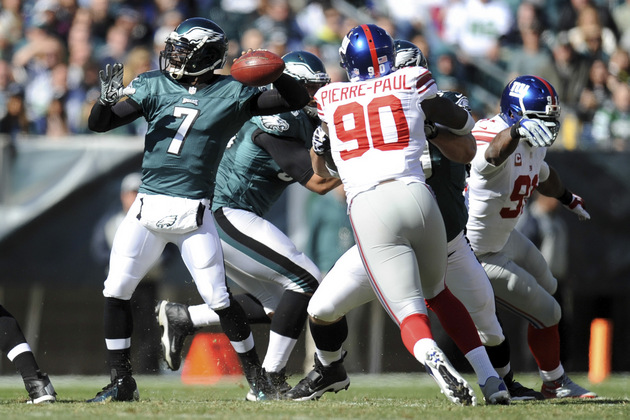 Eagles quarterback Michael Vick leaves game against Giants afte…