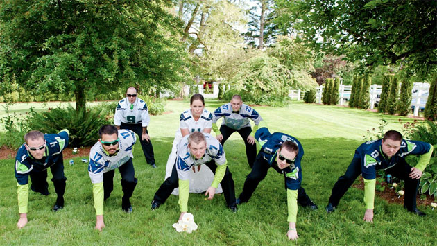 Seahawks-themed wedding is a lime-green delight