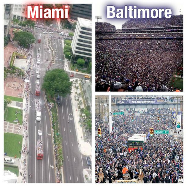 Ravens' Twitter feed mocks attendance of Heat's victory parade
