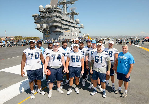 San Diego Chargers conduct practice on the deck of the U.S.S. R…