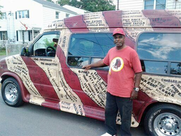 Washington fan selling his treasured, heavily decorated Redskin…