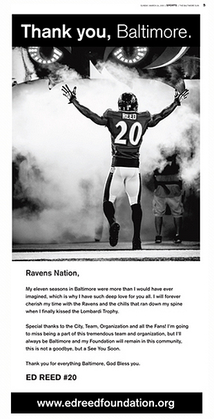 Ed Reed takes out full-page ad in the Baltimore Sun to thank Ra…