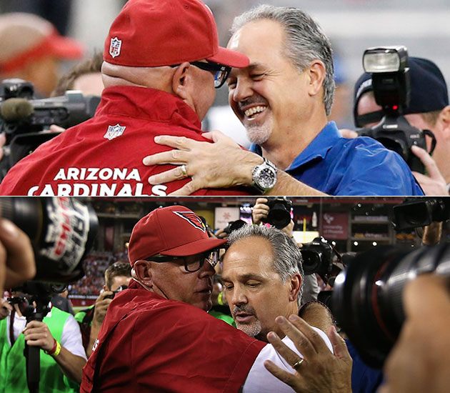 Awkward encounter: Chuck Pagano wants a handshake, Bruce Arians…