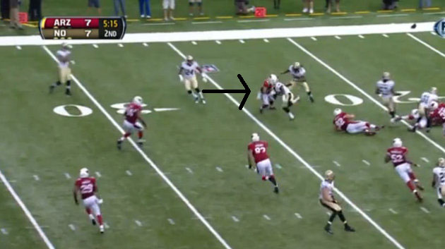 Here's the play in which Rashad Johnson lost the tip of his lef…
