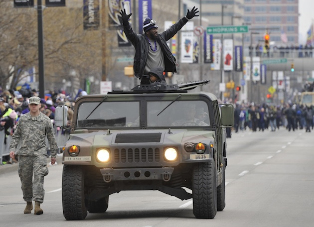 Yay or nay? Ravens travel through Super Bowl parade in military…