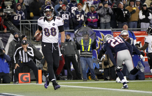 Dennis Pitta gets blasted over the middle by Jerod Mayo, bounce…