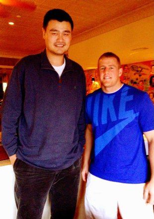 J.J. Watt takes a picture with Yao Ming, and Watt looks like a …