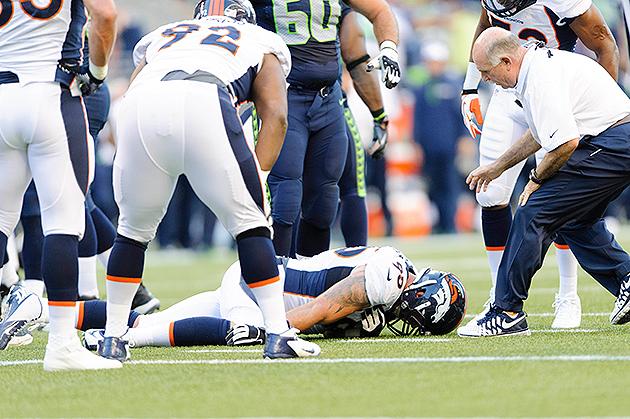 Denver Broncos defensive lineman Derek Wolfe taken off field in…