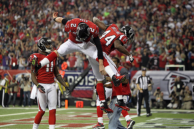 Relieved Falcons celebrate a strange victory