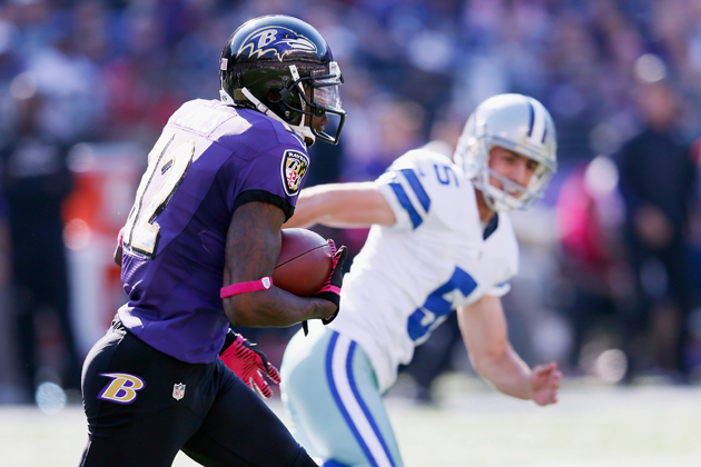 Baltimore's Jacoby Jones ties NFL record with 108-yard kick ret…