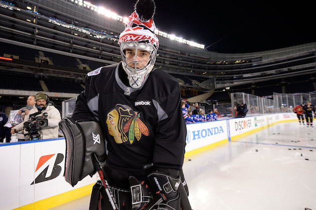 Where in the world is Corey Crawford's Stadium Series mask?