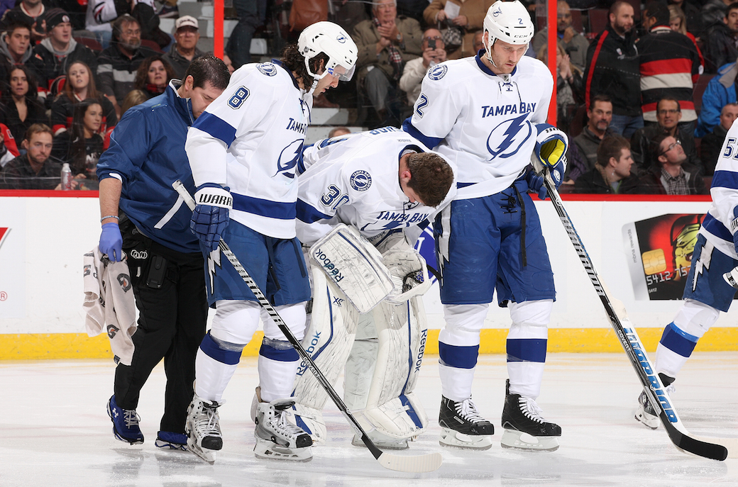 Mike Green, Ben Bishop leave games with injury
