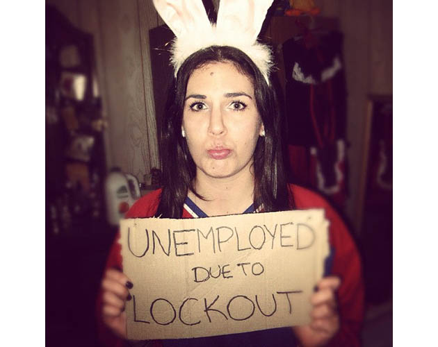 or ignore the locked out players altogether and go as a locked out puck bunny like kaitlundrigan did tough times for puck bunnies - Puck Bunny Halloween Costume