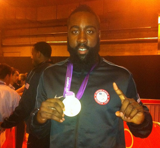 James Harden showing off his Olympic gold medal