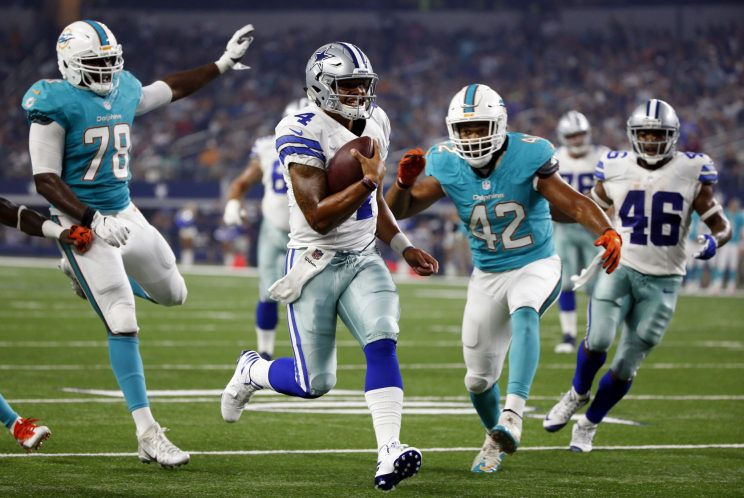 Dak Prescott had a 20-yard touchdown run against the Miami Dolphins (AP)
